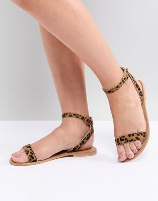 ASOS DESIGN Felon Leather Flat Sandals
