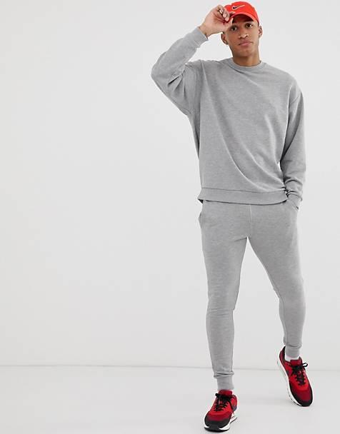 ASOS DESIGN - Felpa oversize joggers della tuta skinny grigio mélange c2ac2d8db06