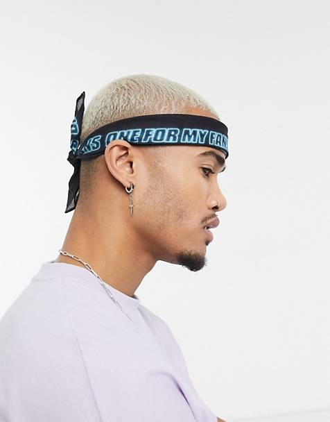 ASOS DESIGN festival bandana in black organic cotton with blue text print