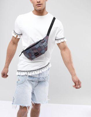 ASOS DESIGN festival bum bag with vintage aztec print