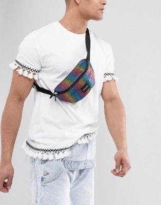 ASOS DESIGN festival fanny pack in rainbow