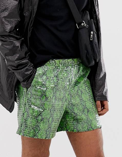 bfe209d9 ASOS DESIGN festival slim shorts with snake print in sequins