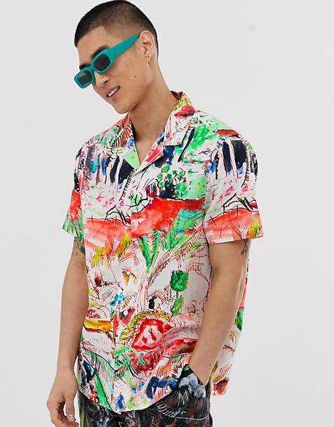 ASOS DESIGN festival two-piece regular shirt with scribble scenic print
