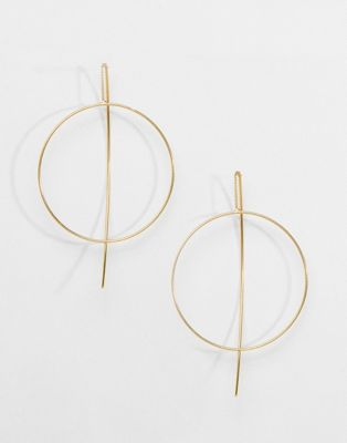 ASOS DESIGN fine open hoop through earrings