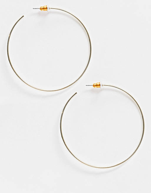 ASOS DESIGN fine wire 50mm hoop earrings in gold tone