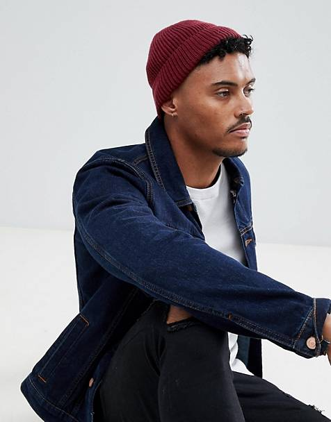 ASOS DESIGN fisherman beanie in burgundy