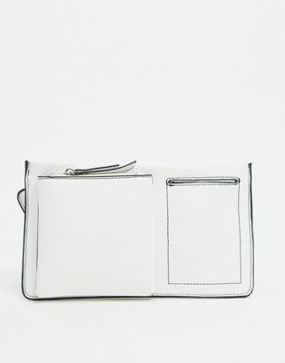 ASOS DESIGN – Flache Gürteltasche in Weiß mit Taschendetail