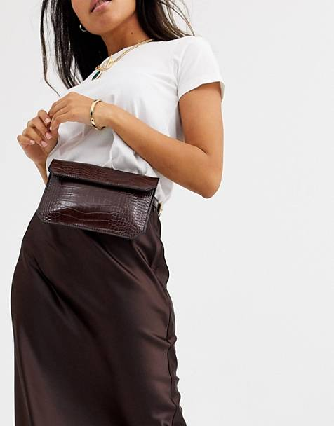 ASOS DESIGN flat fanny pack in croc