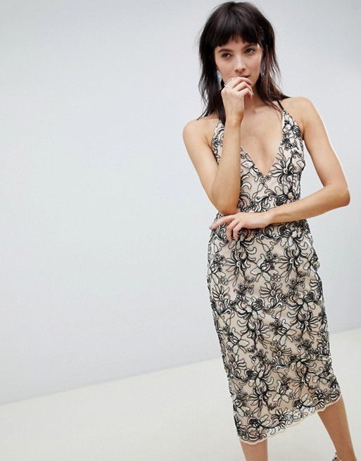 ASOS DESIGN Floral embroidered mesh cami plunge pencil dress