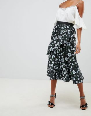 ASOS DESIGN floral jacquard midi skirt with ruffle