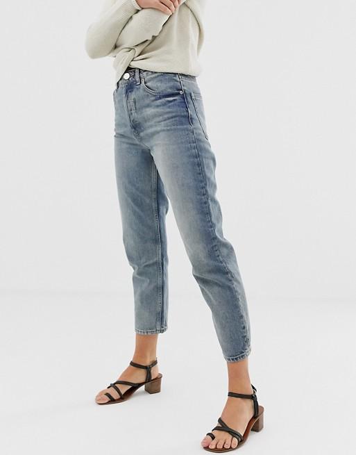 ASOS DESIGN – Florence Authentic – Recycelte Jeans mit geradem Bein in blauer Aged-Stonewaschung