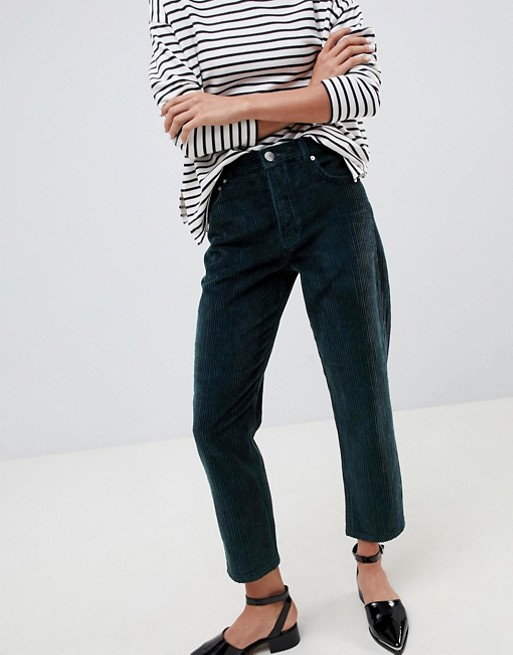 ASOS DESIGN Florence authentic straight leg in dark green chunky cord