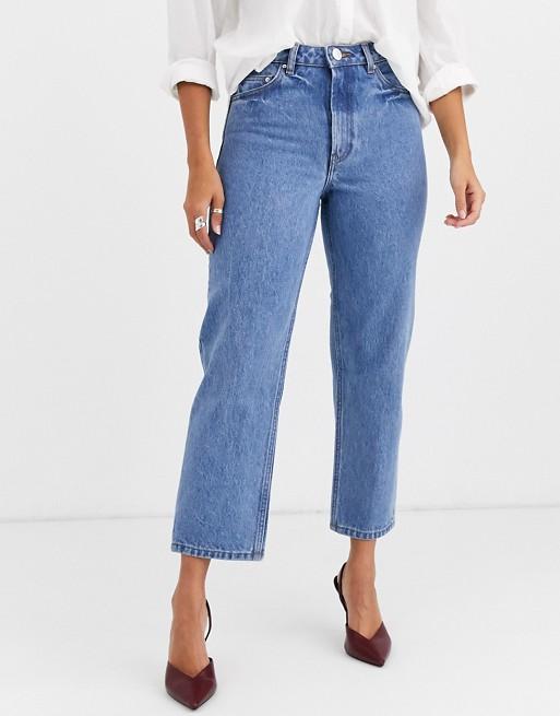 ASOS DESIGN Florence Jean droit authentique en tissu recyclé Bleu délavé moyen Pretty