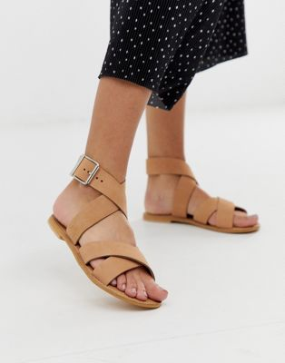 Image 1 of ASOS DESIGN Flossy leather cross strap flat sandals