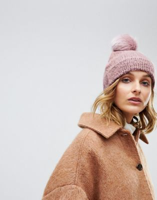 ASOS DESIGN fluffy beanie with faux fur pom