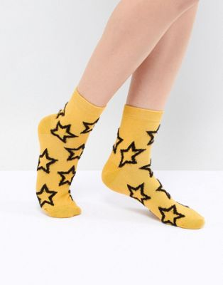 ASOS DESIGN Fluffy Star Ankle Socks In Mustard
