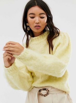 ASOS DESIGN fluffy sweater with volume sleeve