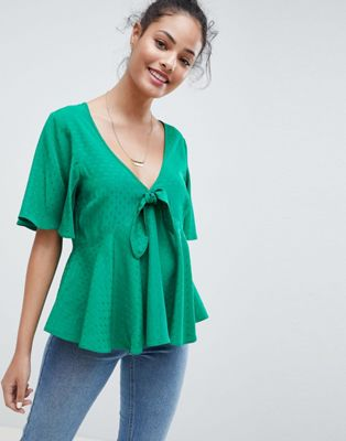 ASOS DESIGN Flutter Sleeve Tie Front Top In Jacquard