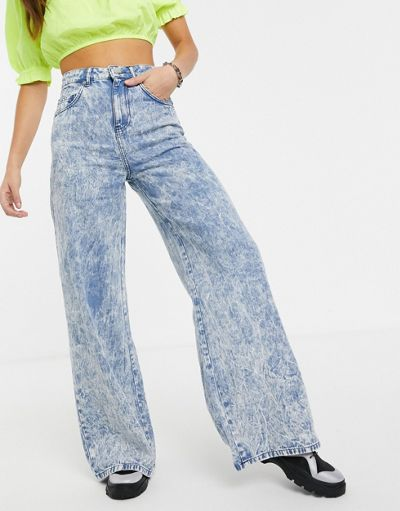 ASOS DESIGN Full length lightweight wide leg jeans in acid wash