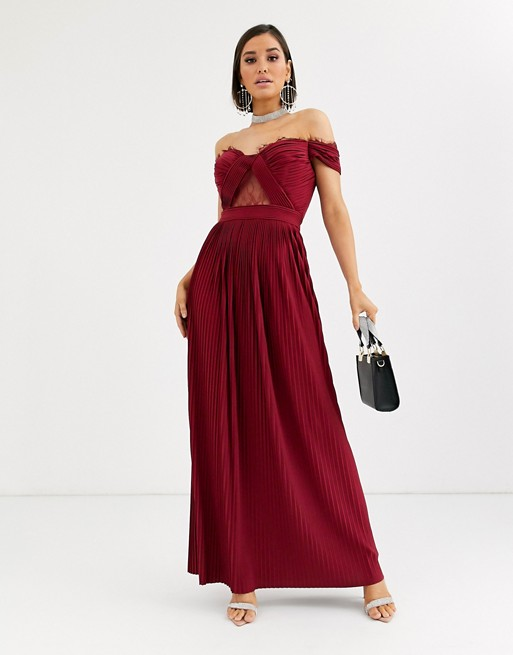 ASOS DESIGN Fuller Bust lace and pleat bardot maxi dress