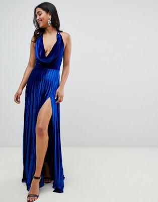 ASOS DESIGN - Geplooide fluwelen lange jurk met gedrapeerde halslijn