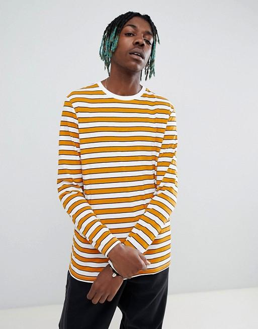 Afbeelding 1 van ASOS DESIGN -Gestreept T-shirt met lange mouwen in geel