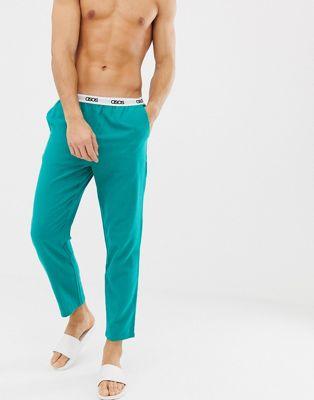 ASOS DESIGN - Geweven rechte pyjamabroek in groen