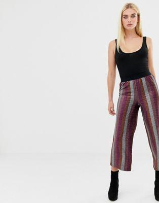 ASOS DESIGN glitter stripe cropped straight leg pants