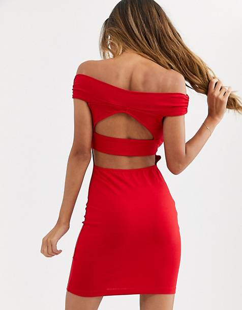 ASOS DESIGN going out bardot cut out back detail mini dress