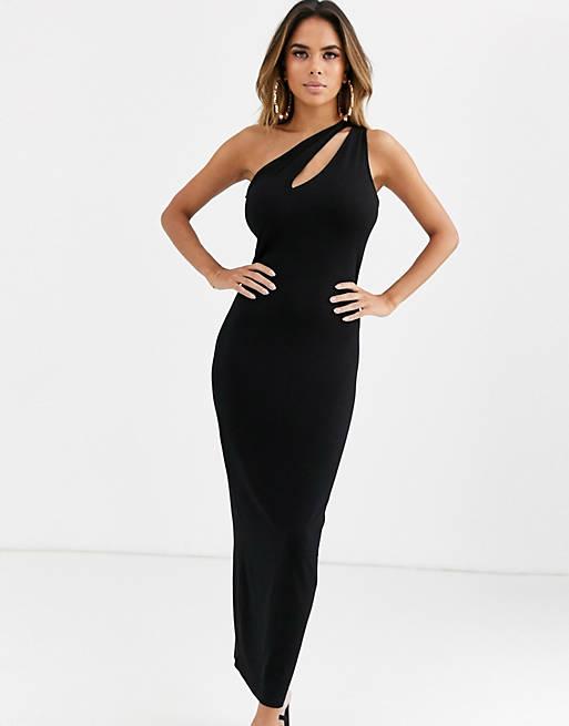 ASOS DESIGN going out slash front maxi dress in black