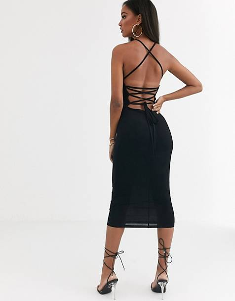 ASOS DESIGN going out strappy back midi dress