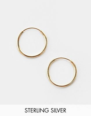 ASOS DESIGN gold plated sterling silver 9mm fine hoop earrings