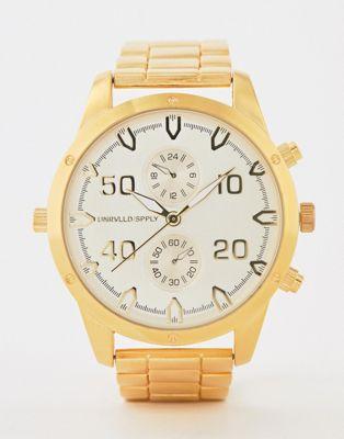 ASOS DESIGN gold tone bracelet watch with subdials