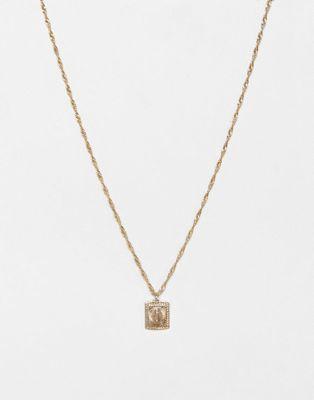ASOS DESIGN – Goldfarbene Halskette mit antikem Medaillon