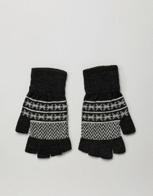 ASOS DESIGN – Grå fingerlösa handskar i fairisle-mönster
