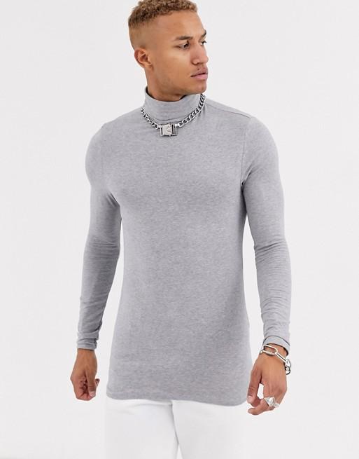 Bild 1 av ASOS DESIGN – Grå, stretchig t-shirt i muscle fit med långa ärmar och polokrage