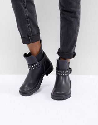 ASOS DESIGN Graduate Studded Biker Wellies