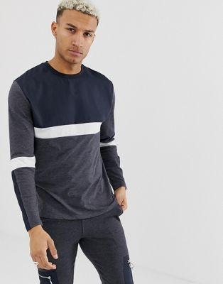Bild 1 von ASOS DESIGN – Graues, legeres, langärmliges Shirt aus Nylon mit Einsätzen, Kombiteil
