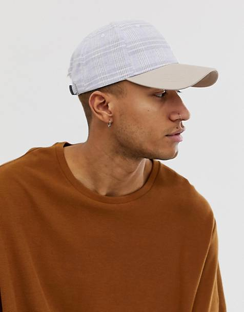 ASOS DESIGN gray check baseball cap with contrast peak