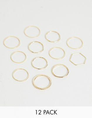 Bild 1 av ASOS DESIGN – Guldfärgade ringar i blandad design i 12-pack