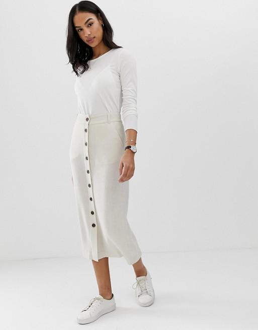 ASOS DESIGN gutsy linen column midi skirt with button through