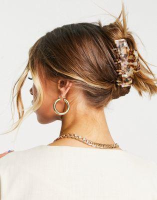 ASOS DESIGN – Haarklammer mit Doppelzacken in heller Schildpattoptik   ASOS