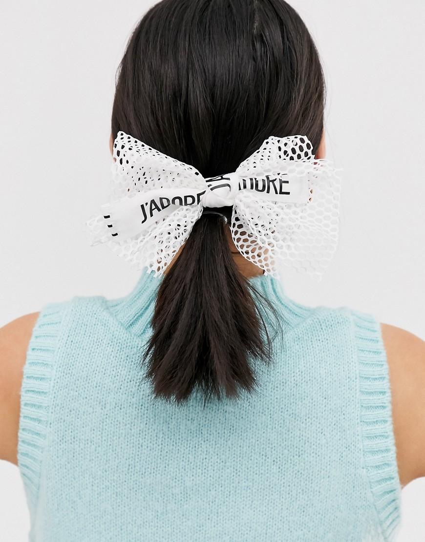 asos design -  – Haarspange mit Schleifendesign aus Netzstoff-Weiß