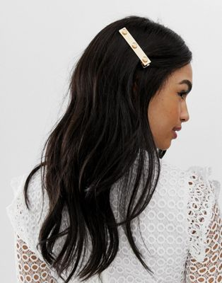 ASOS DESIGN Hair clip with shell detail in gold