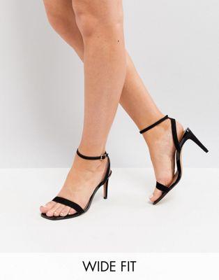 Image 1 sur ASOS DESIGN - HALF TIME - Sandales à talon minimalistes pointure large