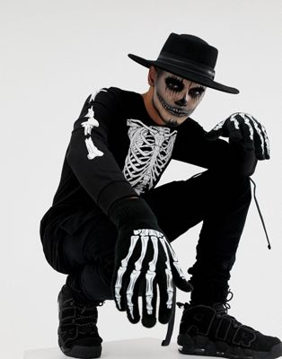 Image 1 of ASOS DESIGN Halloween long sleeve t-shirt with skeleton rib cage back and body print