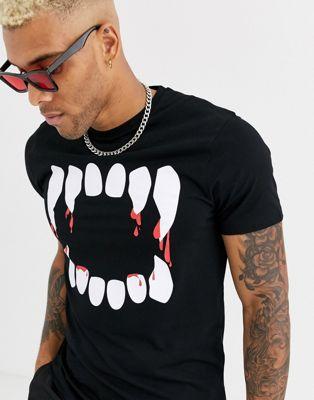 ASOS DESIGN - Halloween - T-shirt à imprimé dents effrayant