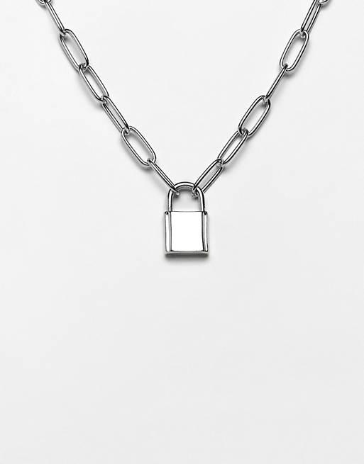 ASOS DESIGN – Halskette mit Gliederkettendetail und Vorhängeschloss, in Silber