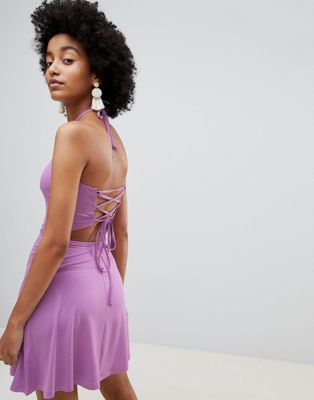 ASOS DESIGN halter strappy back sundress