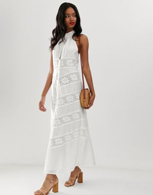 Image 1 of ASOS DESIGN halterneck maxi dress with lace inserts